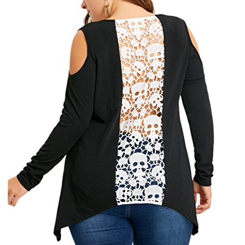 Backless Skull Lace Decor Plus Size Blouse for Womens, Franterd Off Shoulder Oversize T-shirt Tops (Black, XXL)