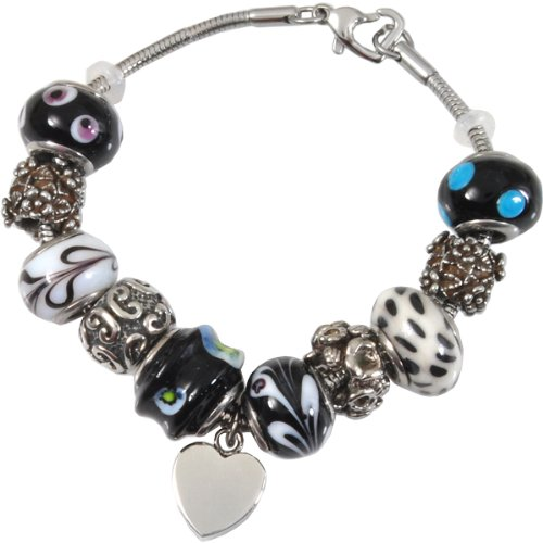 Memorial Gallery Classic Black & White Remembrance Bead Pet Heart Urn Charm Bracelet, 7'' by Memorial Gallery