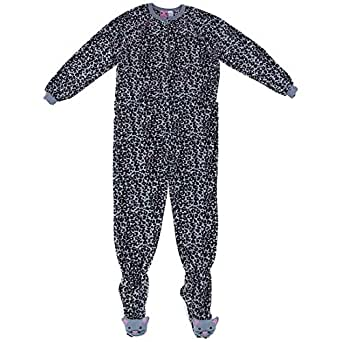 Gray Leopard Print Footed Pajamas for Women L