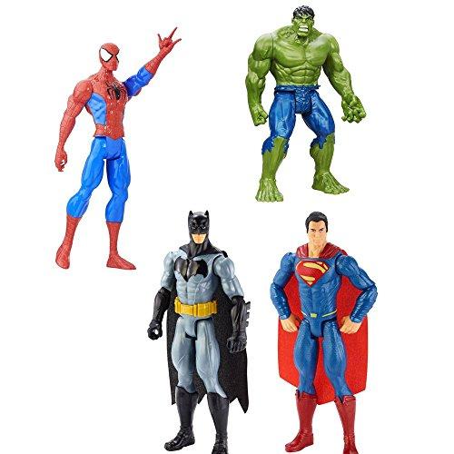 4 LOT Bundle Marvel Batman v Superman, Hulk and Marvel Spider-Man Titan Hero (Hulk Classic Infant Costumes)