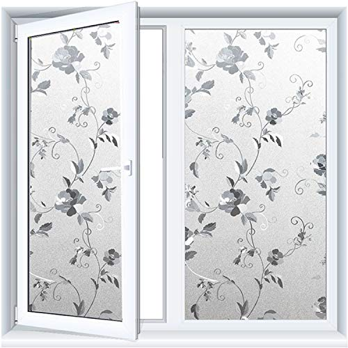 bofeifs Window Decor Film Cling Privacy Frosted Flowers Sticker Glass Heat Control Stained Glass DIY Static Film Glue Free PVC Vinyl for Home Kitchen Office College Store 17.7X78.Inch