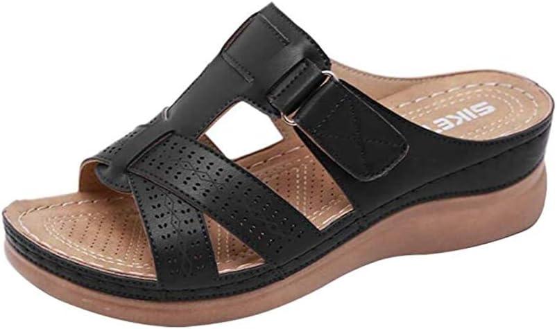 Wxyfl Sandalias Cómodas de Verano con Punta Abierta para Mujer Cuña Ortopédica Premium Suave con Fondo Grueso Sandalias Cómodas Sandalias para Caminar,Negro,43