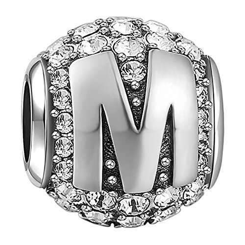 SOUFEEL New Letter M Charms Swarovski 925 Sterling Silver Charms for Bracelets Necklaces Letters Series