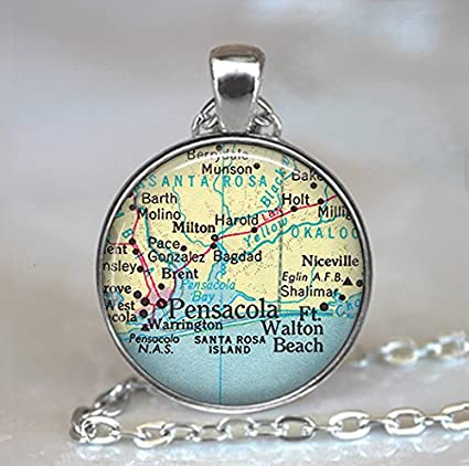 Holt Florida Map.Amazon Com Pensacola Map Pendant Map Jewelry Florida Map Pendant