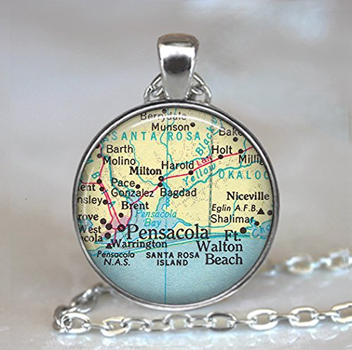 Pensacola map pendant, map jewelry, Florida map pendant, vintage map jewelry, Pensacola - Pensacola Stores In