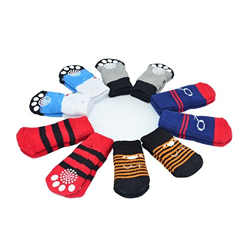Traction Control Cotton Socks Indoor Dog Nonskid Knit Socks 5 Pairs Random Color - L