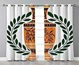 Thermal Insulated Blackout Grommet Window Curtains,Toga Party,Old Antique Greek Vase with Olive Branch Motif and Laurel Wreath,Hunter Green Orange Black,2 Panel Set Window Drapes,for Living Room Bedro