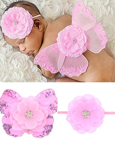 Newborn Baby White Butterfly Angel Wings with Hairband, Photography Props with Flower Halo Set (Pink-1) -