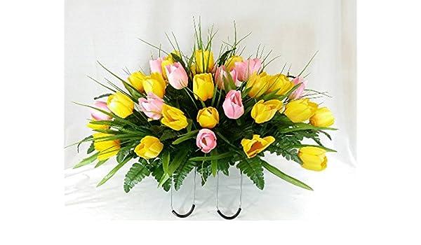 Amazon 3036 Yellow And Pink Tulip Cemetery Flower Arrangement