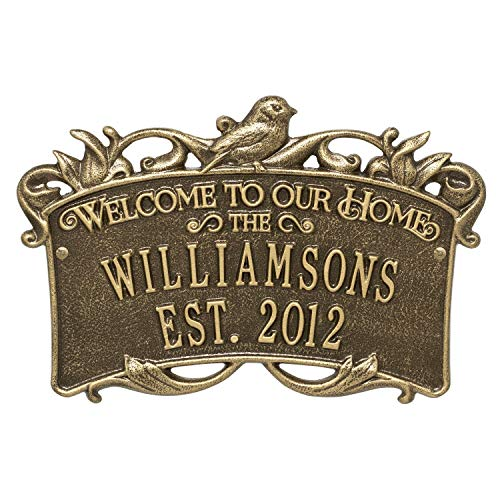 Songbird Welcome Anniversary Personalized Plaque Great Wedding, Anniversary House Warming Gift (Antique Brass)