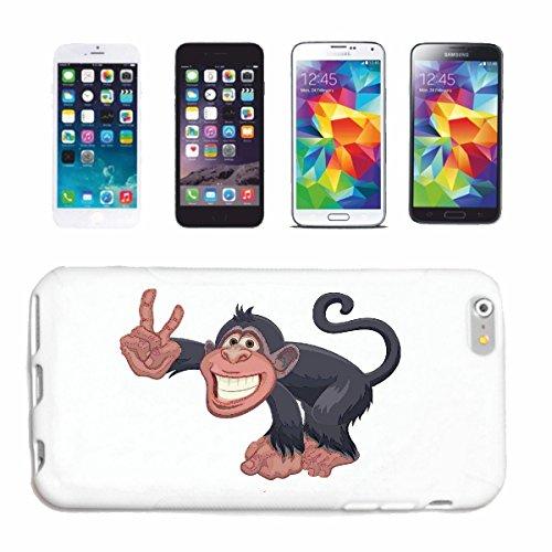 caja del teléfono iPhone 6+ Plus MONO FELIZ CON LA MUESTRA DE PAZ DEL MONO Chimpancé del GORILA posterior de la plata APE CHARLY MONKEY KING KONG Caso duro de la cubierta Teléfono Cubiertas cubierta