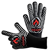 """ICCKER Grill Gloves - 1112°F (600°C) Extremely Heat Resistant BBQ Gloves, 14""""(36CM) Grilling"""
