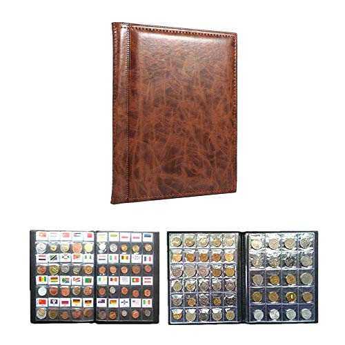 10 Pages Coin Album Coin Collectors 250 Pockets for Coin Storage Coin Collection Book Russian Language (Color : Brown) (Disney Penny Collection Book)
