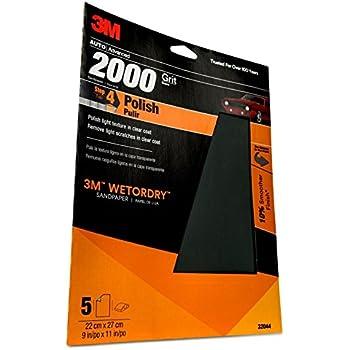 3M WetordrySandpaper, 32044, 2000 Grit, 9 inch x 11 inch