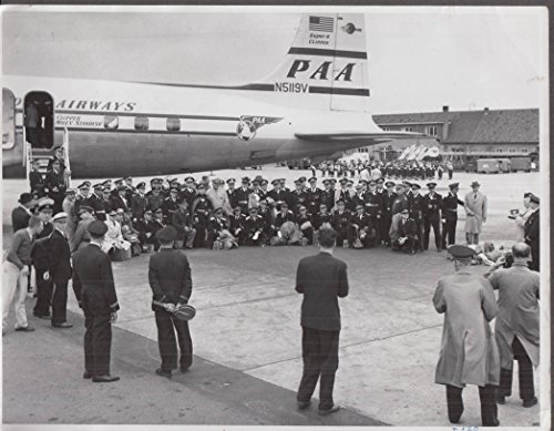 Veterans group pose before boarding Pan Am DC-6B Miles Standish photo 1950s