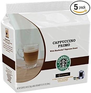 Starbucks Cappuccino Primo, 16 T-Discs for Tassimo Coffeemakers, 8 Coffee &  8 Creamer Sets,