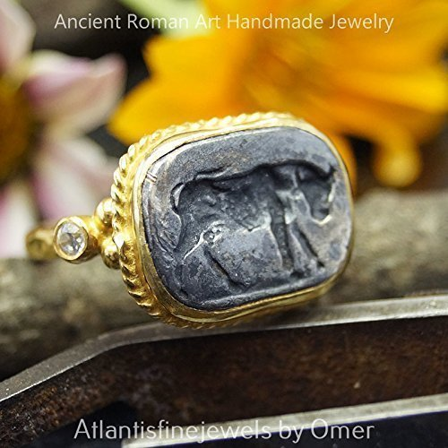 (Sterling Silver Roman Art 2 Tone Ring W/Bull Coin 24k Yellow Gold Vermeil Turkish Designer Jewelry)
