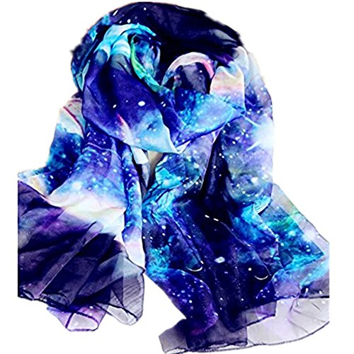 JOYJULY Starry Sky Galaxy Star Space Printing Chiffon Long Wrap Scarves with Gift (Print Long Scarf)