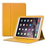 iPad Air 2 Case, Premium PU Leather Flip Folio Cover , Ultra Slim Wallet Case Luxury Holster with [Card Slots] and Kickstand Smart Cover Auto Sleep / Wake Feature for Apple iPad Air 2 / iPad 6 (Yellow)