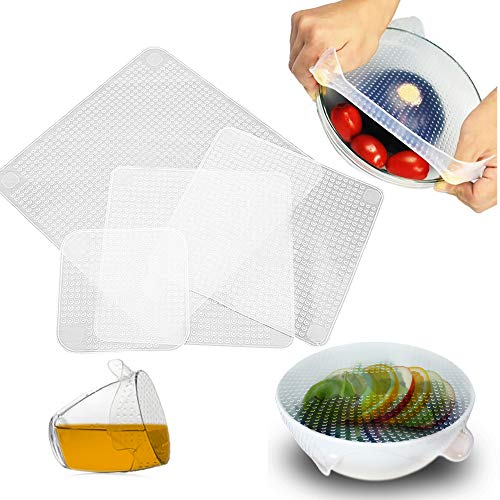 - OVA Silicone Food Wrap | Replacement Cover for Tupperware, Bowls, Dishes and Plastic Container | Reusable, Eco-Friendly Storage for Fruit, Fresh Produce | Freezer and Microwave Safe Lids