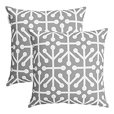 TreeWool, (Pack of 2) Cotton Canvas Octaline Accent Decorative Throw Pillow Covers (18 x 18 Inches, Silver Grey & White)