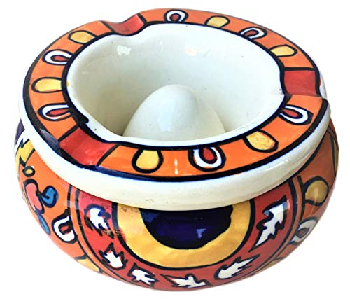 nch Handpainted Moroccan Ash Tray - Ceramic Ashtray for Outdoor and Indoor Home Decor | Christmas Gift | Unique Tribal Painting Made by Marginalized Artists | Christmas Deal ()