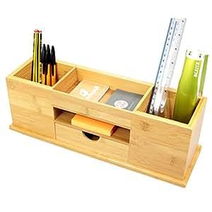 Woodquail caj n organizador de art culos de oficina con 5 - Organizador cajon oficina ...