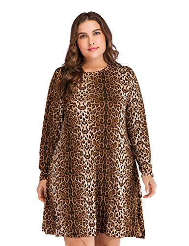 Party Leo03 OEUVRE Women's Jersey Leopard Dress Street Shift Style Tunic vTfSUvq