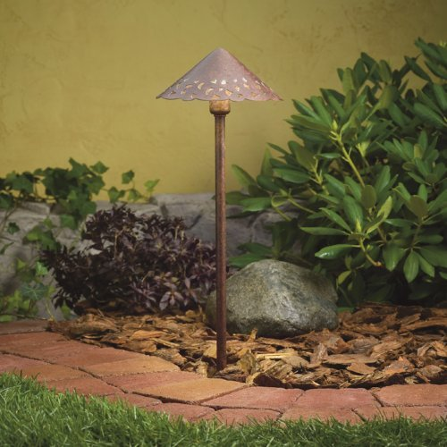 15471TZT Cast Hammered Roof 1LT Incandescent/LED Hybrid Low Voltage Landscape Path and Spread Light, Textured Tannery Bronze Finish by Kichler Lighting - Textured Tannery Bronze Finish