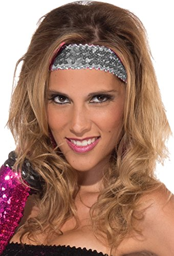 Costumes Female Disco (Womens Silver Sequin Club Dazzle Flapper Disco Costume)