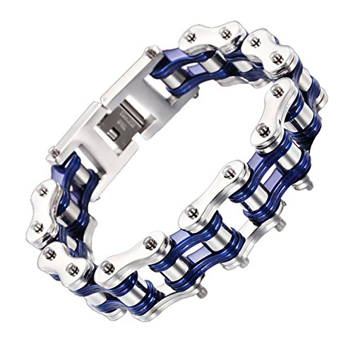 FATEMOONS Mens Bicycle Bracelet Biker Link Chain Stainless Steel Wristband Motorcycle Bangle 9 inch (blue-silver)