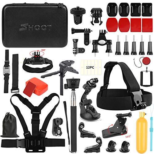 SHOOT 31 in 1 Must Have Accessories Kit Wirth Monopod GoPro HERO7 Black Silver White/6/5/4/3+/3/5 Session/Hero(2018)/Fusion Campark AKASO DBPOWER Crosstour Camera