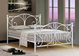 Comfy Living 4ft Small Double White Metal Bed Frame With Crystal Finials