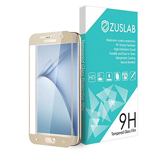 For Galaxy S7 [ Full Coverage Tempered Glass Screen Protector ] Zarus For Samsung [Premium Tempered Glass] 9H Hardness Silk Print Full Coverage Tempered Glass Screen Protector (Gold)