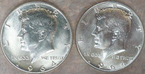 (1964 Kennedy Half Dollar BU P and D Mint Set)