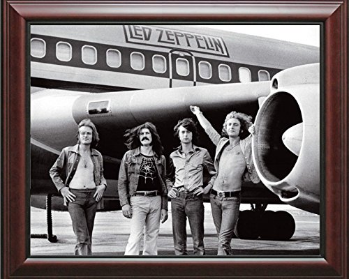 16 x 20 Wood Framed Print Led Zeppelin And Their Plane
