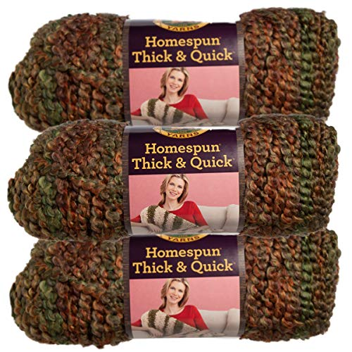 Lion Brand (3 Pack) Homespun Thick & Quick Acrylic & Polyester Soft Herb Garden Green Orange Yarn for Knitting Crocheting Super Bulky #6
