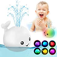 ZHENDUO Baby Bath Toys, Whale Automatic Spray Water Bath Toy with LED Light, Induction Sprinkler Bathtub Showe