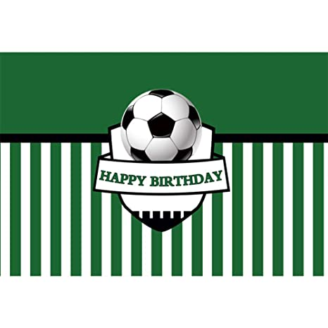 Cassisy 3x2m Vinilo Cumpleaños Telon de Fondo Feliz cumpleaños Bandera Fútbol Fútbol Rayas Verdes Fondos para Fotografia Party bebé Infantil Photo ...