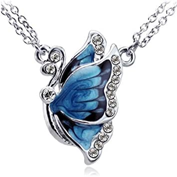 necklace blue products butterfly birru jewelry