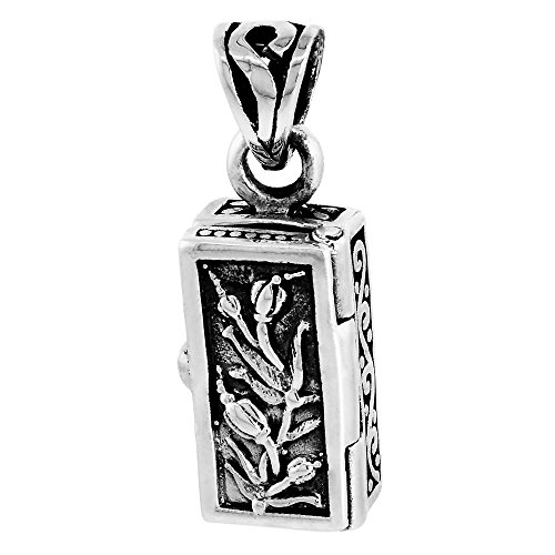 Sterling Silver Prayer Box Pendant Tulips Motif, 5/8 inch