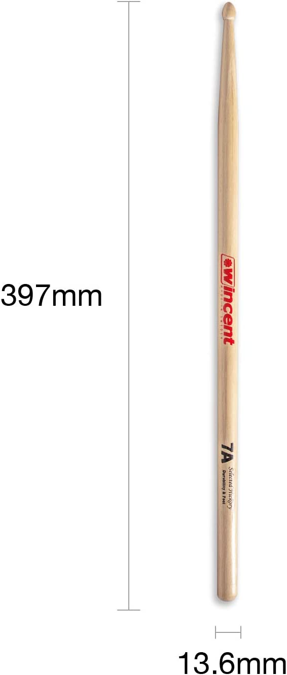 Unique Wax Protected WINCENT 7A Selected Hickory Drumsticks