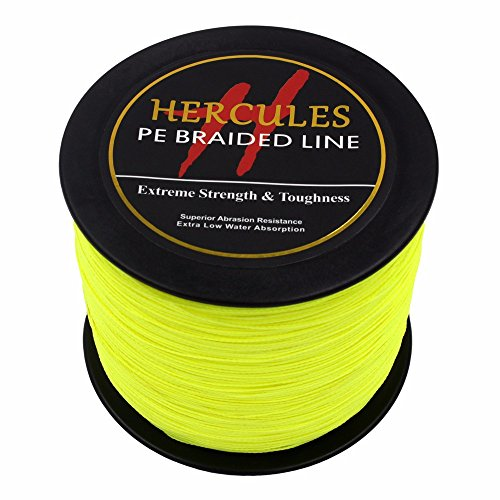 1000m 1094yds Fluorescent Yellow 6lbs-100lbs Hercules Pe Dyneema Braid Fishing Line 4...