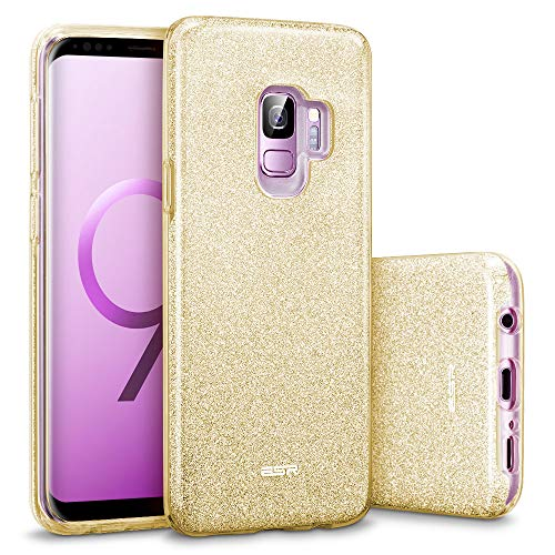 ESR Makeup Glitter Case Compatible for The Samsung Galaxy S9, Sparkle Bling Case Protective Cover [Three Layer][Supports Wireless Charging] for Galaxy S9 5.8 inch, Champagne Gold(Released in 2018)