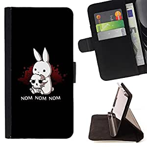 For Samsung Galaxy S6 Edge Plus Black Monster Cute Bunny Skull Funny Style PU Leather Case Wallet Flip Stand Flap Closure Cover