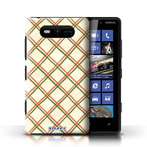 Etui / Coque pour Nokia Lumia 820 / Rouge/Vert conception / Collection de Motif Entrecroisé