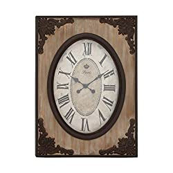 Benzara Woodland Imports Country Style Wood Wall Clock