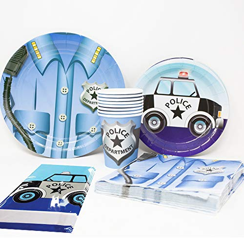 Blue Orchards Police Deluxe Party Packs (70 Pieces for 16 Guests!), Police Party Supplies, Police Car