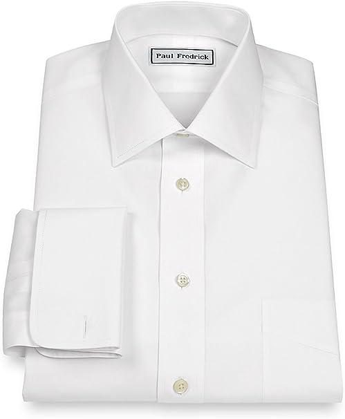 Paul Fredrick Mens Slim Fit Impeccable Non-Iron Cotton Button Cuff Dress Shirt
