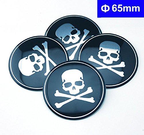 4pcs C086 65mm Emblem Badge Sticker Wheel Hub Caps Center Cover Skull Black (Skull Center)